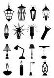 Icone della lampada messe Fotografia Stock