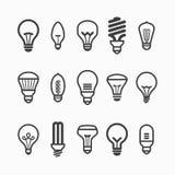 Icone della lampadina Immagini Stock Libere da Diritti