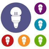 Icone della lampadina del riflettore messe Immagine Stock