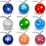 Icone della lampadina di Natale fotografie stock