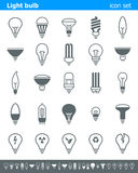 Icone della lampadina - illustrazione Immagini Stock