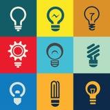 Icone della lampadina messe Immagini Stock Libere da Diritti