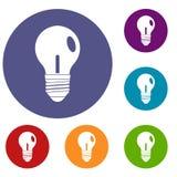 Icone della lampadina messe Immagine Stock Libera da Diritti