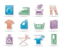 Icone della lavanderia e della lavatrice Fotografie Stock