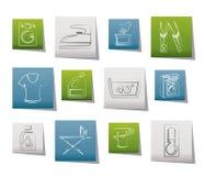 Icone della lavanderia e della lavatrice Immagine Stock Libera da Diritti