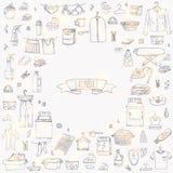 Icone della lavanderia messe Fotografia Stock