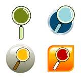 Icone della lente d'ingrandimento Immagini Stock