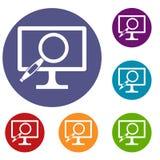 Icone della lente d'ingrandimento del monitor del computer messe Fotografie Stock