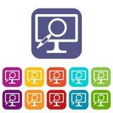Icone della lente d'ingrandimento del monitor del computer messe Immagini Stock Libere da Diritti