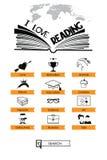 Icone della lettura e del libro Immagine Stock