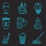 Icone della linea blu per il menu della prima colazione Fotografia Stock Libera da Diritti