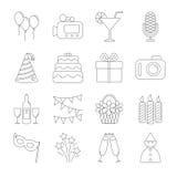 Icone della linea del partito di compleanno Fotografie Stock