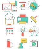 Icone della linea di business messe nella progettazione piana web Immagini Stock