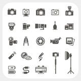 Icone della macchina fotografica ed icone degli accessori della macchina fotografica messe Fotografie Stock
