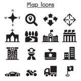 Icone della mappa Immagini Stock