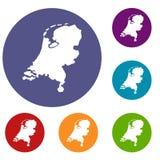 Icone della mappa dell'Olanda messe Fotografie Stock Libere da Diritti
