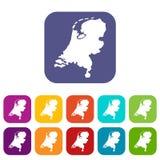 Icone della mappa dell'Olanda messe Immagine Stock Libera da Diritti