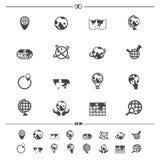 Icone della mappa di mondo e del globo royalty illustrazione gratis