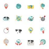 Icone della mappa di mondo e del globo illustrazione di stock