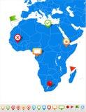 Icone della mappa e di navigazione dell'Africa - illustrazione Fotografie Stock Libere da Diritti