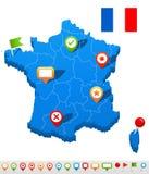 Icone della mappa e di navigazione della Francia - vector l'illustrazione Fotografie Stock Libere da Diritti