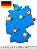 Icone della mappa e di navigazione della Germania - illustrazione Fotografia Stock Libera da Diritti