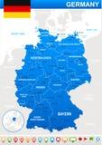 Icone della mappa e di navigazione della Germania - illustrazione Immagini Stock Libere da Diritti
