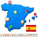 Icone della mappa e di navigazione della Spagna - illustrazione Immagini Stock