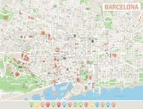 Icone della mappa e di navigazione di Barcellona Fotografie Stock Libere da Diritti