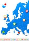 Icone della mappa e di navigazione di Europa - illustrazione Fotografia Stock Libera da Diritti