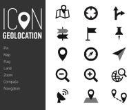 Icone della mappa ed icone di posizione con fondo bianco Immagine Stock Libera da Diritti