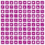 100 icone della mappa hanno fissato il rosa di lerciume Fotografie Stock