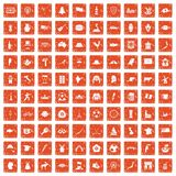 100 icone della mappa hanno messo il lerciume arancio Fotografie Stock Libere da Diritti