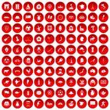 100 icone della mappa messe rosse Immagini Stock Libere da Diritti