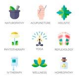 Icone della medicina alternativa Immagine Stock Libera da Diritti