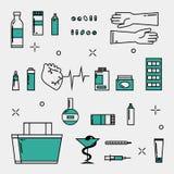 Icone della medicina messe Fotografia Stock Libera da Diritti