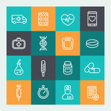 Icone della medicina messe nella linea stile illustrazione vettoriale