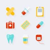 Icone della medicina messe nella progettazione piana Elementi di medicina, salute royalty illustrazione gratis