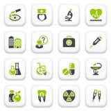 Icone della medicina. Serie grigia verde. Fotografia Stock