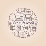 Icone della mobilia Fotografia Stock Libera da Diritti