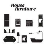Icone della mobilia della Camera messe Immagini Stock