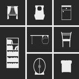 Icone della mobilia della stanza di bambini fotografia stock