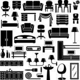 Icone della mobilia impostate royalty illustrazione gratis
