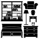 Icone della mobilia, insieme di camera da letto Immagini Stock