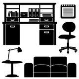 Icone della mobilia, insieme ufficio/del salone Fotografia Stock Libera da Diritti