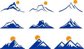 Icone della montagna Fotografie Stock