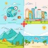Icone della montagna, della città, dell'isola, di viaggio e di turismo illustrazione vettoriale