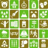 Icone della montagna e della viandante Immagine Stock