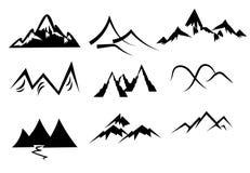 Icone della montagna impostate illustrazione vettoriale