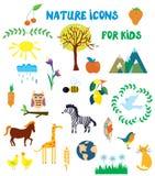 Icone della natura messe per i bambini Fotografia Stock